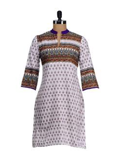 Elegant White & Purple Printed Yoke Kurta - SATTYAA