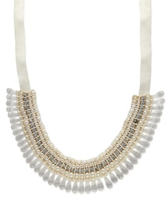 Off-white Pearl Drop Necklace - Miss Chase