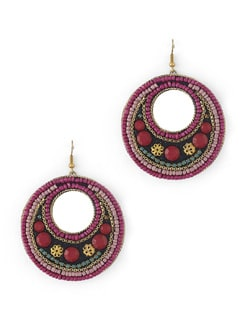 Pink Beaded Concentric Circle Earrings - Miss Chase