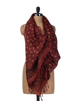 Brown Star Print Tussar Stole - Creative Bee