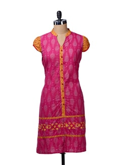 Long Magenta Kurta With Front Slit - MOTHER EARTH