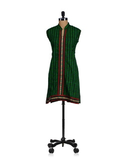 Printed Green Lace Placket Kurta - WILD WOMAN