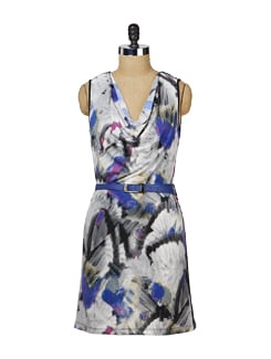 Printed Black & Blue Cowl Neck Dress - MARTINI