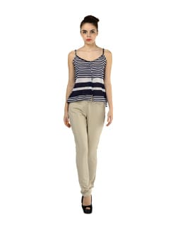 Beige Slim Fit Front Line Trousers - MARTINI