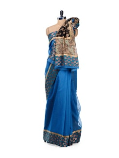 Cobalt Blue Supernet Cotton Silk Saree - Bunkar