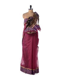 Magenta Designer Supernet Cotton Silk Saree - Bunkar