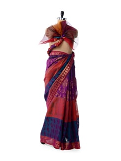 Fancy Blue Rainbow Saree With Zari Work - Bunkar