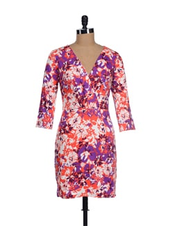 Vibrant Purple-orange Camoflauge Dress - I KNOW By Timsy & Siddhartha