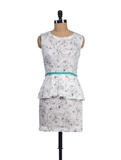 Black & White Flower Print Peplum - I KNOW By Timsy & Siddhartha