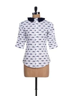 Quirky White Car Print Top - I KNOW By Timsy & Siddhartha