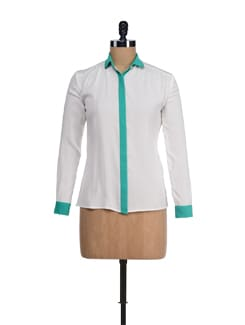 Trendy Off-white & Green Shirt - I KNOW By Timsy & Siddhartha