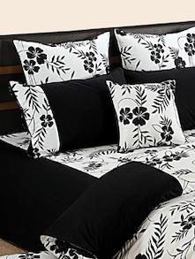 Black And White Floral Bed Linen Set - SWAYAM