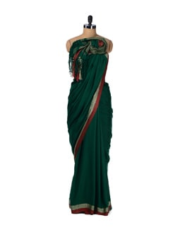 Ethnic Green And Rust Saree - Story Of Weaves