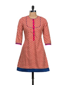 Elegant Red Flared Kurta - VINTAGE EARTH