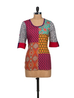 Unique Multicoloured Short Kurti - VINTAGE EARTH