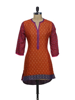 Orange & Purple Printed Kurta - VINTAGE EARTH
