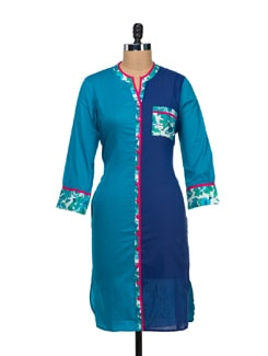 Simple Blue Kurta With Floral Detailing - VINTAGE EARTH