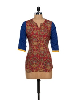 Printed Red Short Kurti - VINTAGE EARTH