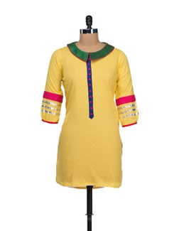 Elegant Lemon Yellow Kurti - VINTAGE EARTH
