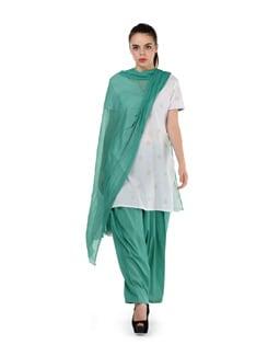 Aqua Green Semi Patiala Salwar With Dupatta - MY COLORS