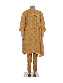 Elegant Mustard Embroidered Suit - Ada