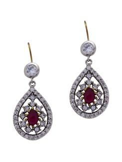 Tear Drop Shaped Crystal Earring - Aishwarya Jewellery
