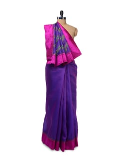 Purple & Pink Embroidered Silk Saree - Design Oasis By Manish Saksena