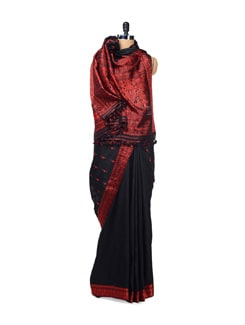 Black & Red Traditional Woven Silk Saree - Design Oasis By Manish Saksena