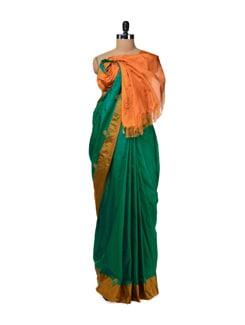 Elegant Green & Orange Uppada Silk Saree - Design Oasis By Manish Saksena