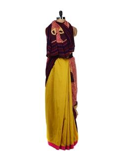 Buddha Print Cotton Saree - URBAN PARI