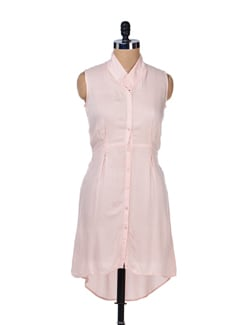 Hi-low Pleated Shirt Tunic-blush Pink - Femella