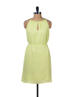 Lime Green Embellished Sundress - Tops And Tunics