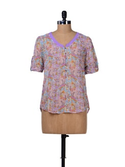 Printed Sheer Georgette Shirt - Tops And Tunics