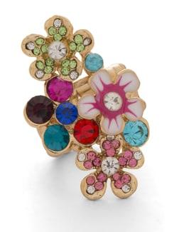 Multicoloured Floral Gold Ring - THE PARI