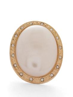 Elegant White-Gold Oval Ring - THE PARI