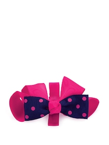 Pink & Navy Blue Bow Clip - NEEDYBEE