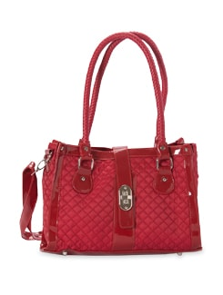 Cherry Red Quilted And Braided Handle Faux Leather Tote - Aapno Rajasthan