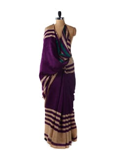 Striped Purple Saree - ROOP KASHISH