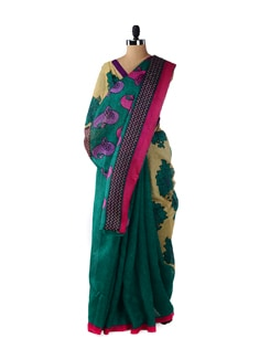 Stylish Green & Beige Floral Saree - ROOP KASHISH
