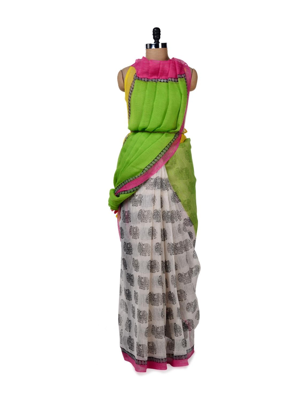 Parrot Green & White Printed Saree - ROOP KASHISH