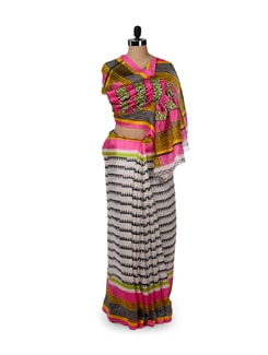 Multicoloured Temple Print Saree - ROOP KASHISH