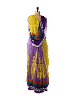 Yellow & Purple Printed Designer Saree - ROOP KASHISH