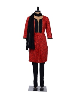 Red And Black Printed Suit - KURTAWALA