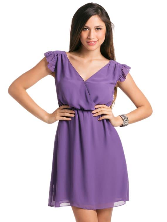 Lilac Donna Ruched Wrap Dress - PrettySecrets