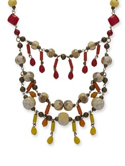 Colorful Layered Beaded Necklace - Ivory Tag