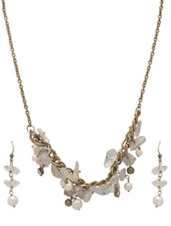 Clear Meshed White Necklace Set - Ivory Tag