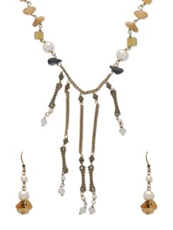 Elegant Yellow & Gold Jewellery Set - Ivory Tag