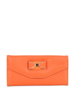 Orange Bow Embellished Wallet - Lino Perros