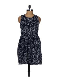 Navy Blue Polka Dress - Besiva