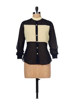 Black & Cream Colorblocked Shirt - Besiva